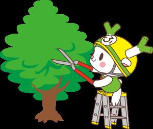 植木の手入れをするふっかちゃんのイラスト