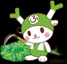 草取りをするふっかちゃんのイラスト